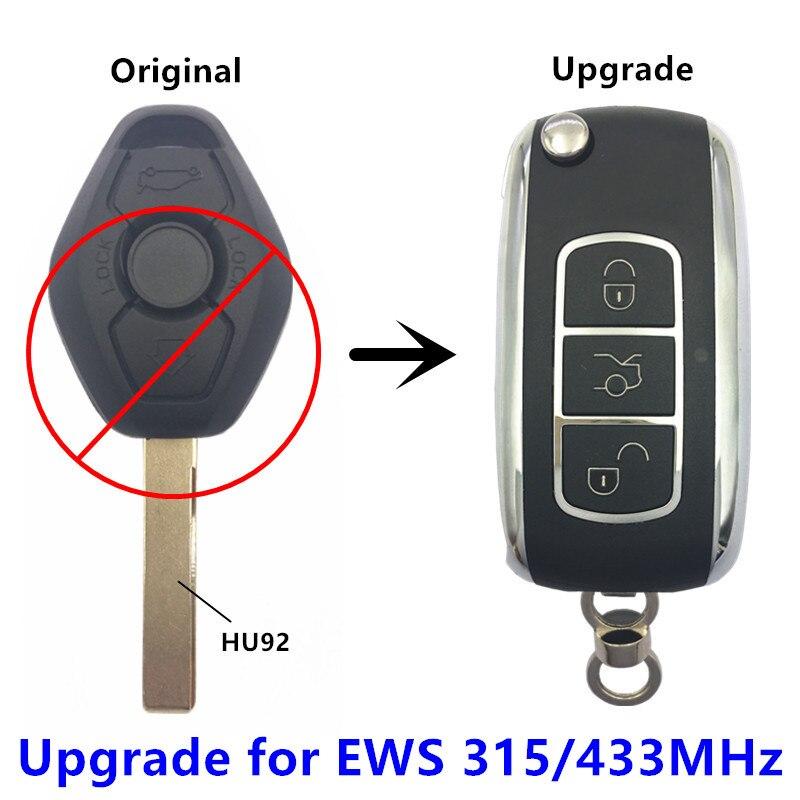 QCONTROL Upgrade Car Remote Key 315MHz/433MHz for BMW EWS X3 X5 Z3 Z4 1/3/5/7 Series Keyless Entry Transmitter Alarm