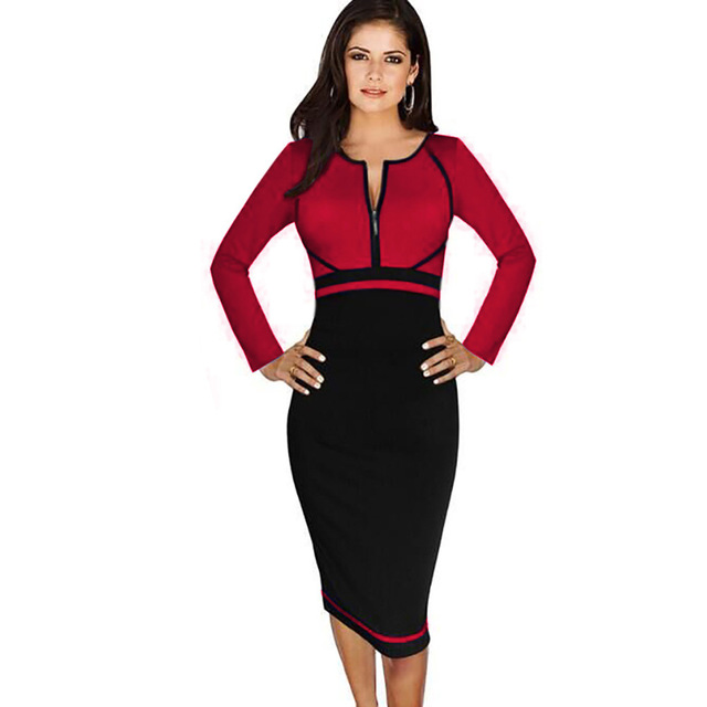 dd21c670399 Women s Plus Size 4XL Elegant Colorblock Front Zipper Wear to Work Business  Casual Office Party Sheath Pencil Bodycon Dress