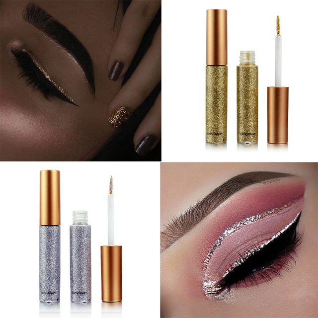 Brand New 10 Colors White Gold Glitter Eyeshadow For Easy to Wear Waterproof Liquid Eyeliner Beauty Eye Liner Makeup 3