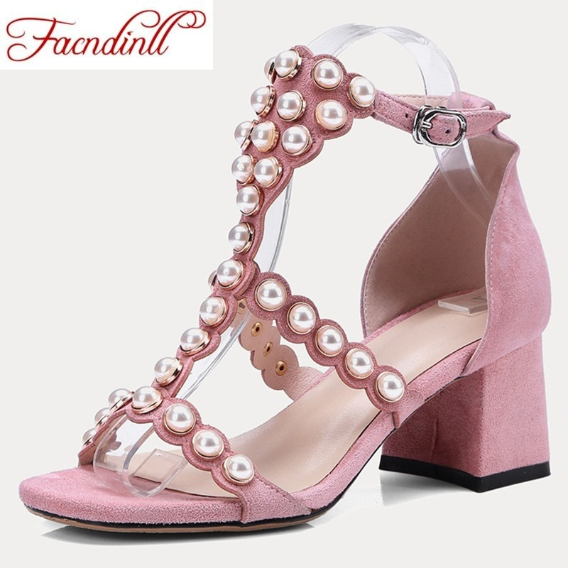 FACNDINLL 2018 summer women genuine leather sandals open toe thick high heels shoes woman black pink dress party shoes sandals facndinll genuine leather sandals for