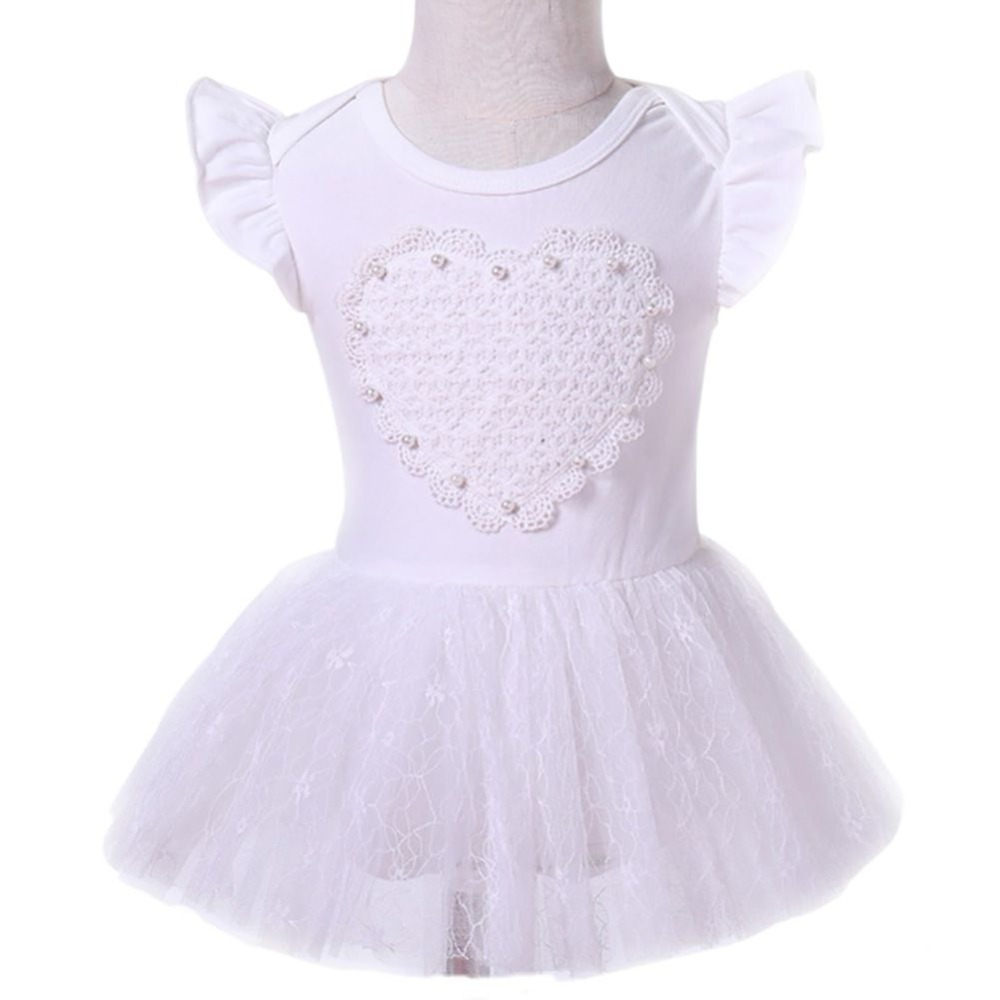 Casual Baby Short Sleeve Heart Printed A Line White Princess Dress With Hair Band Baby Clothing