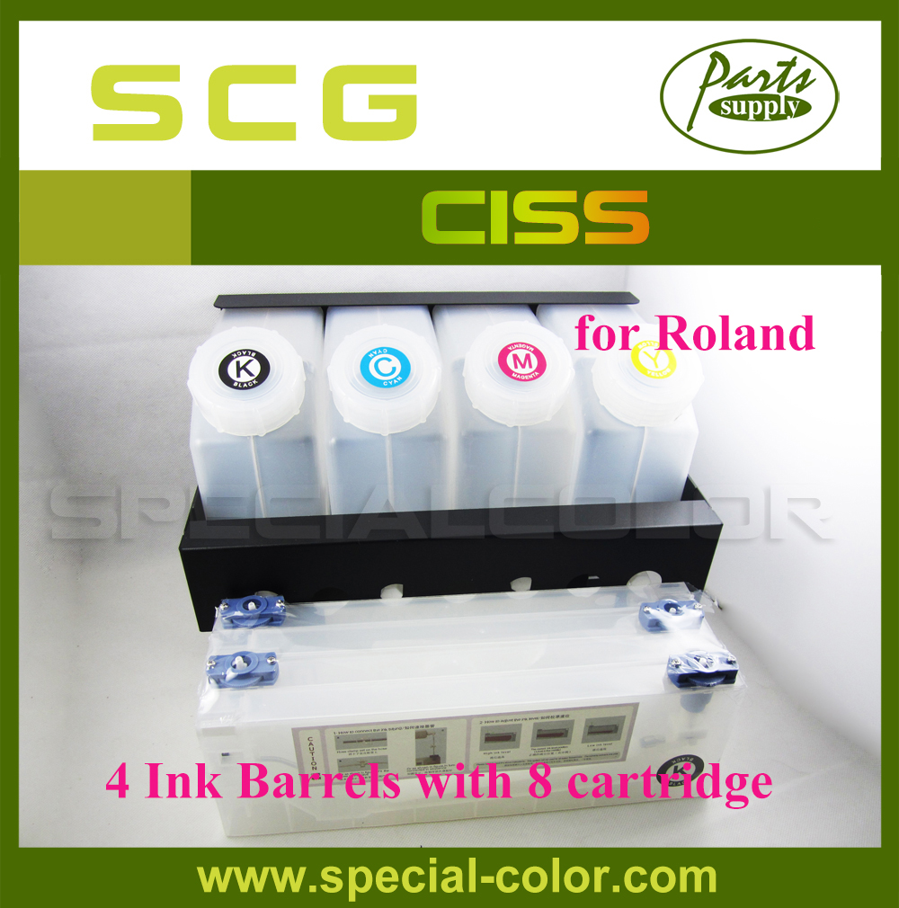 High Quality Roland Printer 4 ink Barrels x 8 Ink Tank CISS (4X8) 4 tank 4 cartridge stronger 4 color ciss for roland bulk ink system