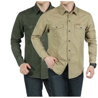 Military Style Men S Shirt Loose Leisure Cotton Pure Color Shirts Big Size Tops Man Wear