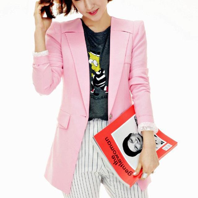 Female Spring New Blazers 2015 Pink Rosa Mulheres Women Suit Ladies Blazer Jackets Plus Size Femininos Lace Patchwork Blazer