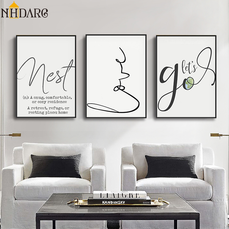 ><font><b>Nordic</b></font> <font><b>Letter</b></font> Lines Minimalist Simple <font><b>Style</b></font> Canvas Print Painting Poster Art Wall Pictures for Living Room Home Decor