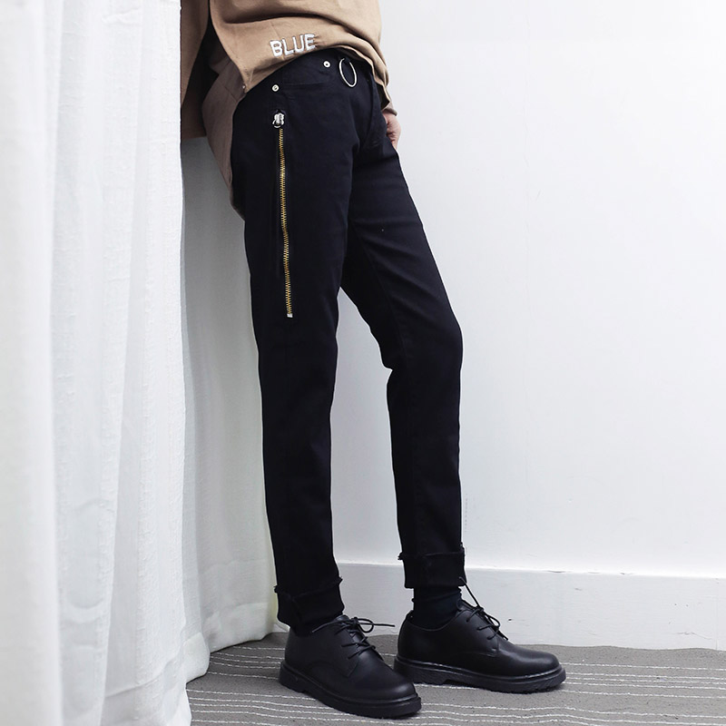 2017 New Zipper Design Mens Black Jeans High Street Fashion Male Slim Denim Pants Cool Men Hiphop Jean Trousers