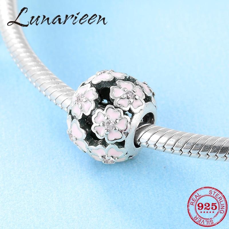 925 Sterling Silver Fashion Silver Pink Flowers Round Enamel Jewelry Beads Fit Original Pandora Charm Bracelet Jewelry Making