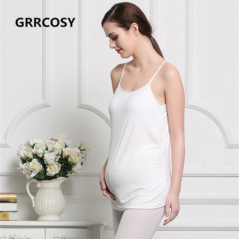 GRRCOSY Modal Pregnancy Bra Tank Caims Fold Vest Clothes Pregnant Women Maternity Shirts Tees Breastfeeding T-shirt