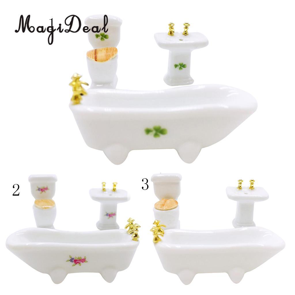MagiDeal Лидер продаж 1/24 кукольная Миниатюра Пластик Ванная комната комплект Керамика Ванна Туалет для детей ролевая игра игрушка 3 вида