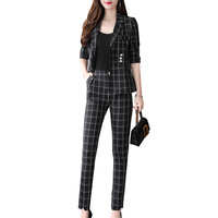 Women's suit spring and autumn new fashion Slim thin asymmetrical women's single breasted suit two piece suit (jacket + pants)
