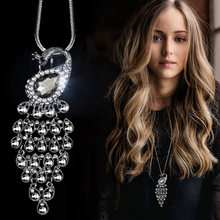 RAVIMOUR Big Peacock Gray Crystal Women Necklace Pendant Statement Animal Long Chain Choker Collares Fashion Jewelry Accessories(China)