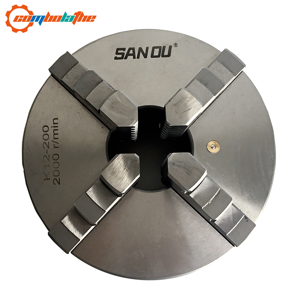 K12-200 four jaw lathe chuck 8 inch 200mm lathe tool accessory with hardened steel for bench lathe K12-200 four jaw lathe chuck 8 inch 200mm lathe tool accessory with hardened steel for bench lathe
