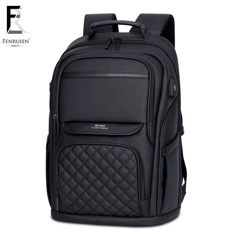 Fenruien 15.6 polegada portátil mochila para homens repelente de água funcional negócios usb carregamento viagem mochilas saco masculino