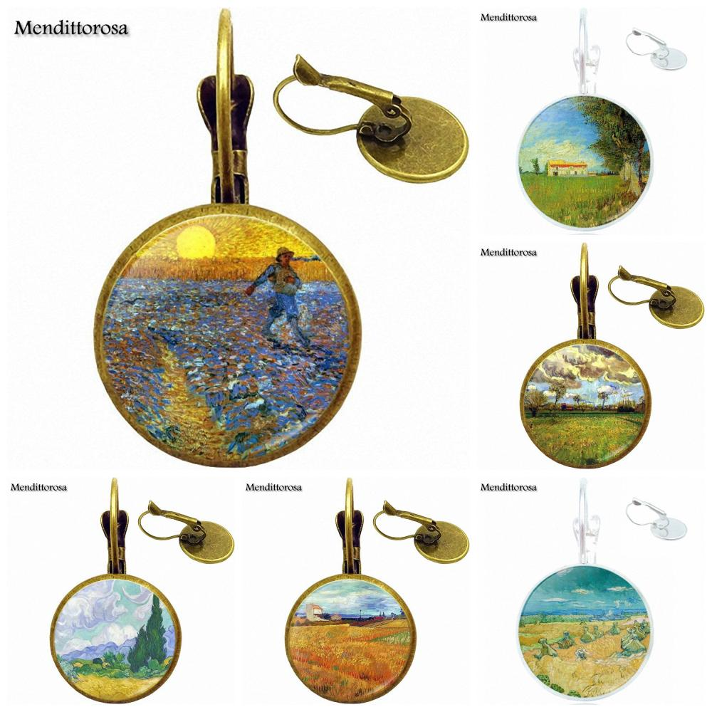 Vintage Van Gogh Wheat Field With Cypresses Luxury Brand Jewelry With Glass Cabochon For Women
