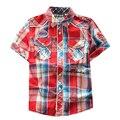 Venta caliente 2016 de Los Bebés de la Marca Camisas de Tela Escocesa de la Alta calidad muchachos Camisa de Los Niños Camisa de Ropa de Algodón de Verano Para Niño Blusa niños