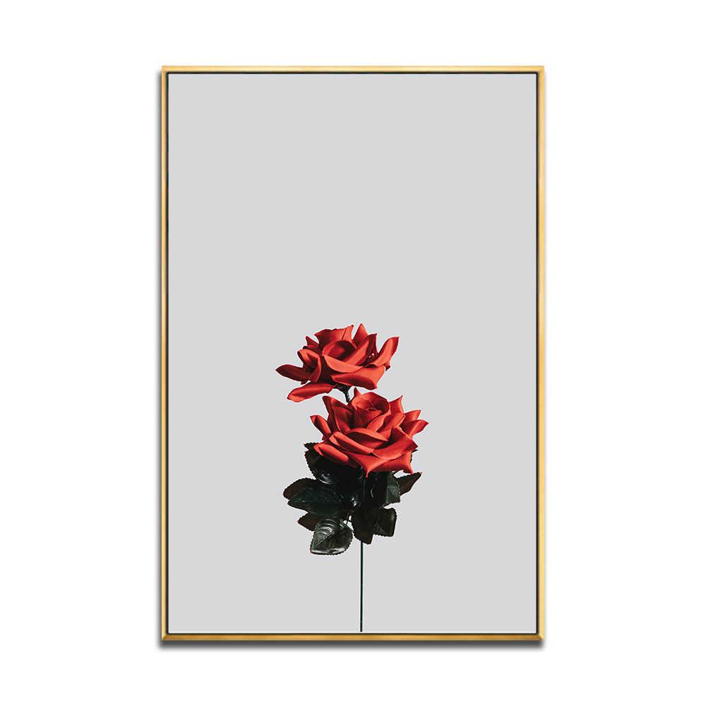 ブラックホワイトウォールアートキャンバス塗装蓮の花ポスターひまわりローズブルームウォールステッカー Decoracion リビングルームのために