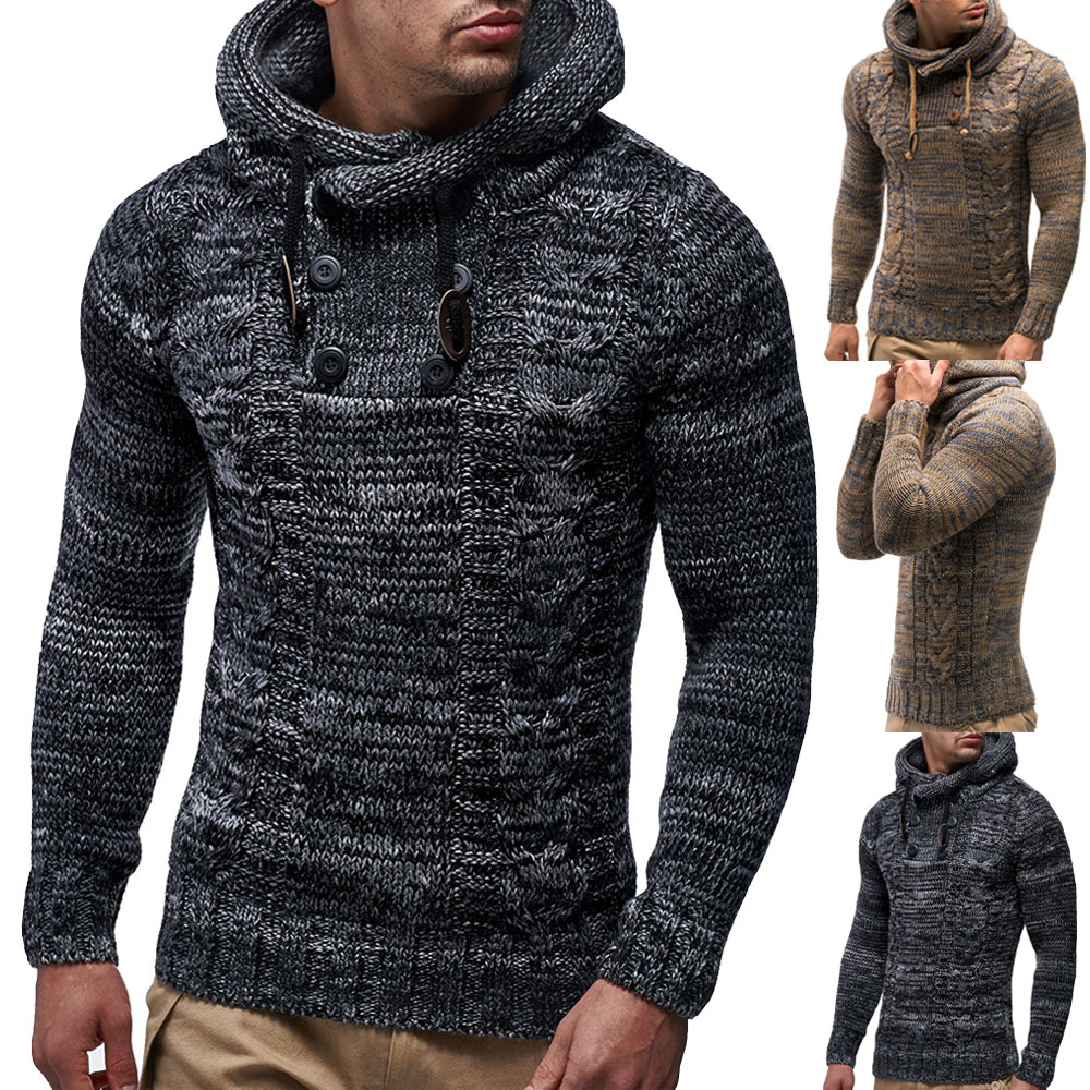 Men's Hooded Sweaters New Arrival 2018 Autumn Men Fashion Matching Color Hemp Double Row Button Up And Hat Knitted Sweater
