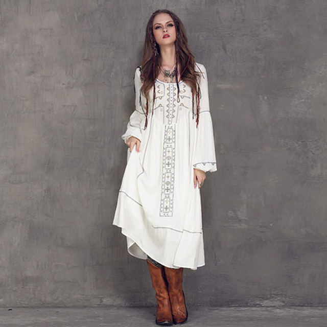 Spring Women Long White Beach Dress 2016 Vintage Ethnic Embroidery
