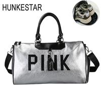 Silver leather sport bag for women fitness lady PU duffle bag letters print waterproof handbag with shoes Yoga Bolsa Sac De Spor