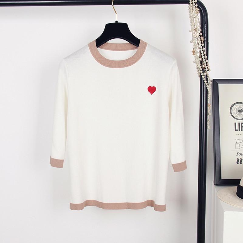 2019 Summer Fall Women's T-Shirt Three Quarter Sleeve T Shirts O-Neck Pullover Korean Style All-Match Knitwear Nice Bottom Tops