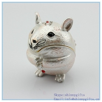Whole Sale Enamel Craft Animal Mouse Shape Trinket Box Lovely Metal Storage Box