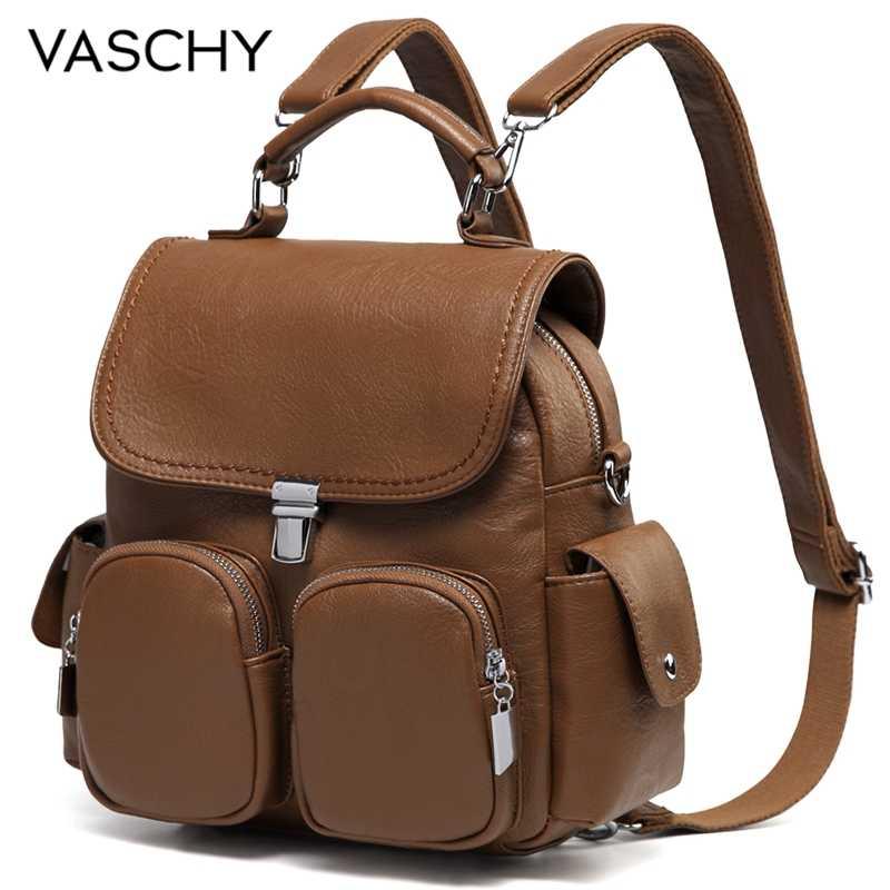 VASCHY ผู้หญิงกระเป๋าเป้สะพายหลังป้องกันการโจรกรรมน่ารักขนาดเล็กรถ PU หนังกระเป๋าเป้สะพายหลังกระเป๋าสำหรับสุภาพสตรีวัยรุ่น