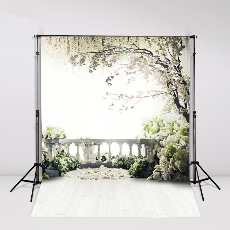 200*300cm Backgrounds For Photo Studio Photography Backdrops White Green The open-air terrace Flowers Tree For Newborn 200 300cm backgrounds for photo studio photography backdrops white green the open air terrace flowers tree for wedding