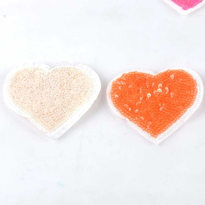 6Pcs Heart Beaded Rhinestone Applique Patch Iron on Wedding Party Sequins