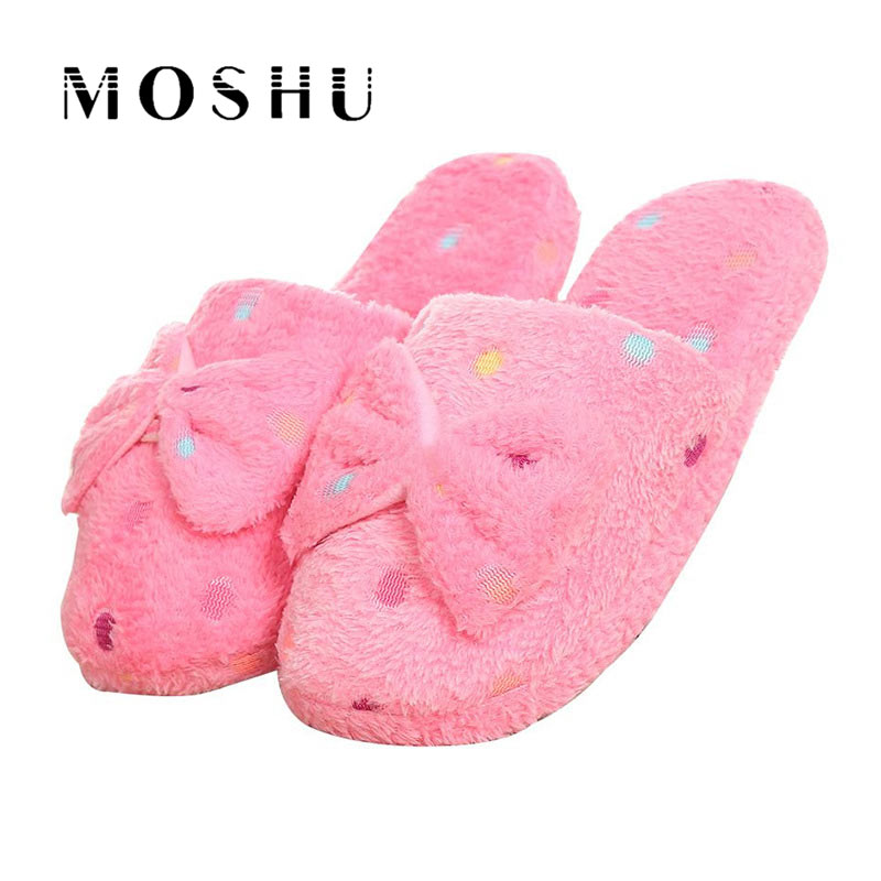 Women Warm Plush Winter Home Slippers Non Slip Cute Butterfly-knot Indoor Slippers Soft Warm Couple Shoes For Bedroom House цена