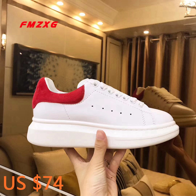 FMZXG women platform shoes fashion Genuine Leather Spring/Autumn designers shoes woman luxury brand 2018 Flats Casual shoes