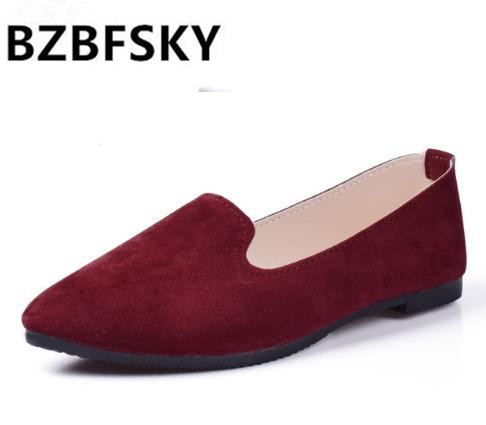 Plus Size 2019 New Fashion Shoes Women Solid Candy Color Patent PU Tip Shoes Women Flats Ballet Casual  Shoes Princess Shoes