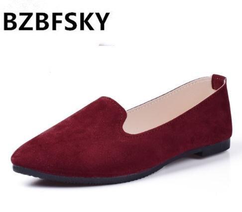 Plus kích thước 2019 mới Thời Trang cho nữ màu kẹo bằng sáng chế PU Mũi giày đế phẳng ba lê Giày công chúa giày