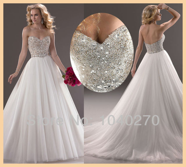 Aliexpress.com : Buy Sparkling White Floor Length Crystal Organza ...