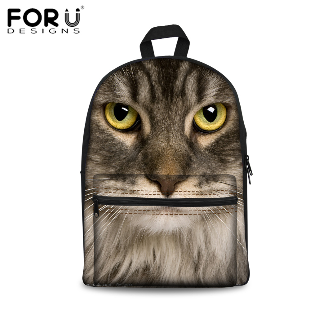 FORUDESIGNS Children School Bags 3D Printing Cat Dog High School Backpack Bags For Girls Cute Animals Design Schoolbags Mochila