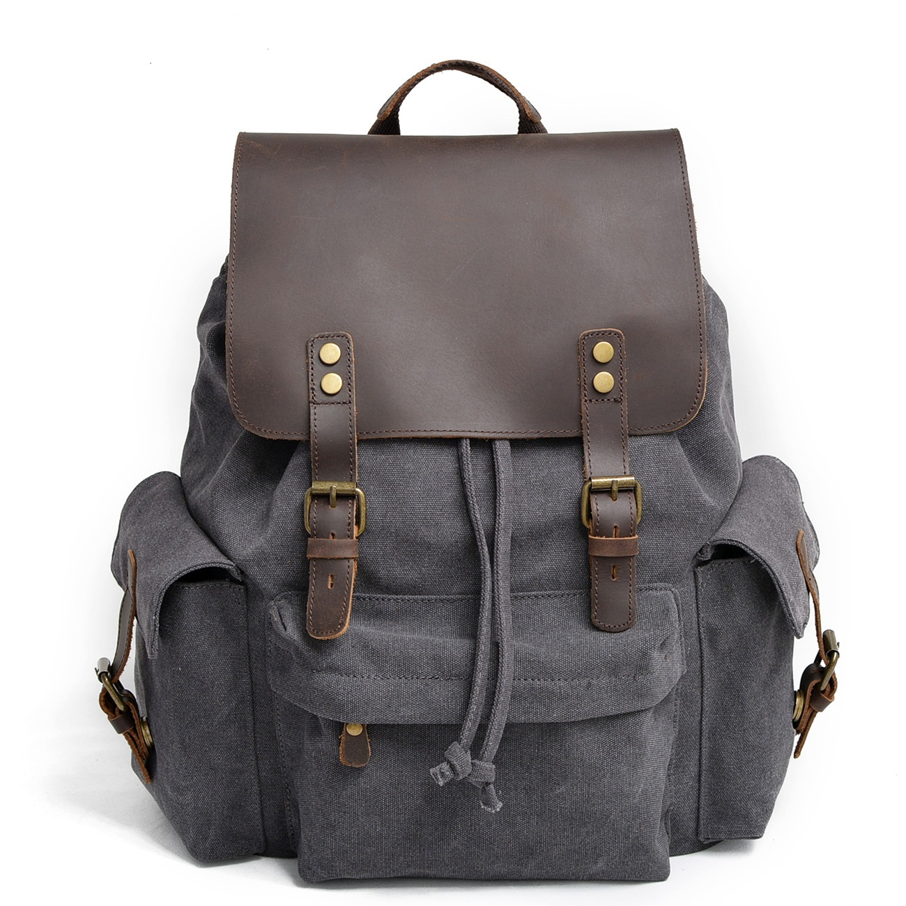9151F Canvas Shoulder Bag leisure Mountaineering Bag With Genuine Leather Canvas Men Backpack