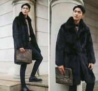 Hot Sale Fashion Man S Autumn Winter Faux Fur Trench Coats European And Americam Style