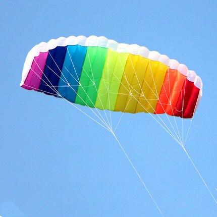 Kostenloser versand dual linie 1,5 mt Parafoil drachen fliegen regenbogen Sport Strand stunt kite mit griff ripstop nylon outdoor kitesurf