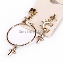 2016 hot design Euro exaggerated Punk style pendant hoop earring with cross for men