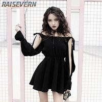 2019 RAISEVERN Women Gothic Punk Mini Dress Long sleeve Bandage Dress Hollow out sexy Black Grunge Dress Female Casual Dress