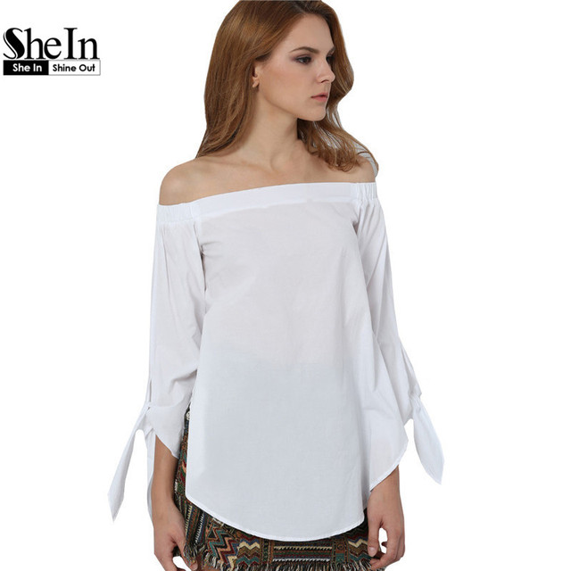 SheIn 2016 Women's Long Sleeve Off The Shoulder Knotted Shirts ...