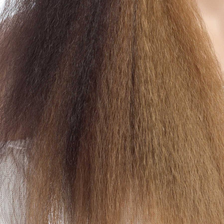 Aigemei Keriting Lurus Glueless Renda Depan Wig Panas Serat Tahan Rambut Sintetis 24 inch