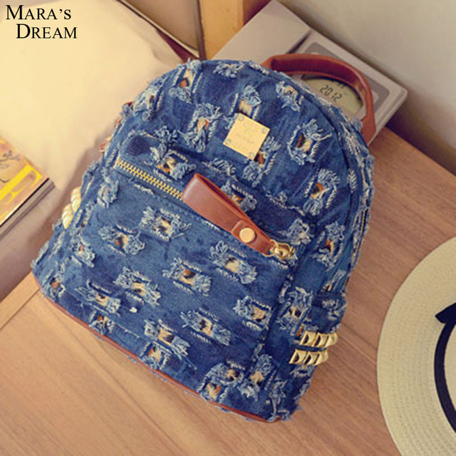 Mara's Dream Women Backpack Summer Hot Sale  Denim Material High Quality Broken Hole Backpacks For Women Trendy Style