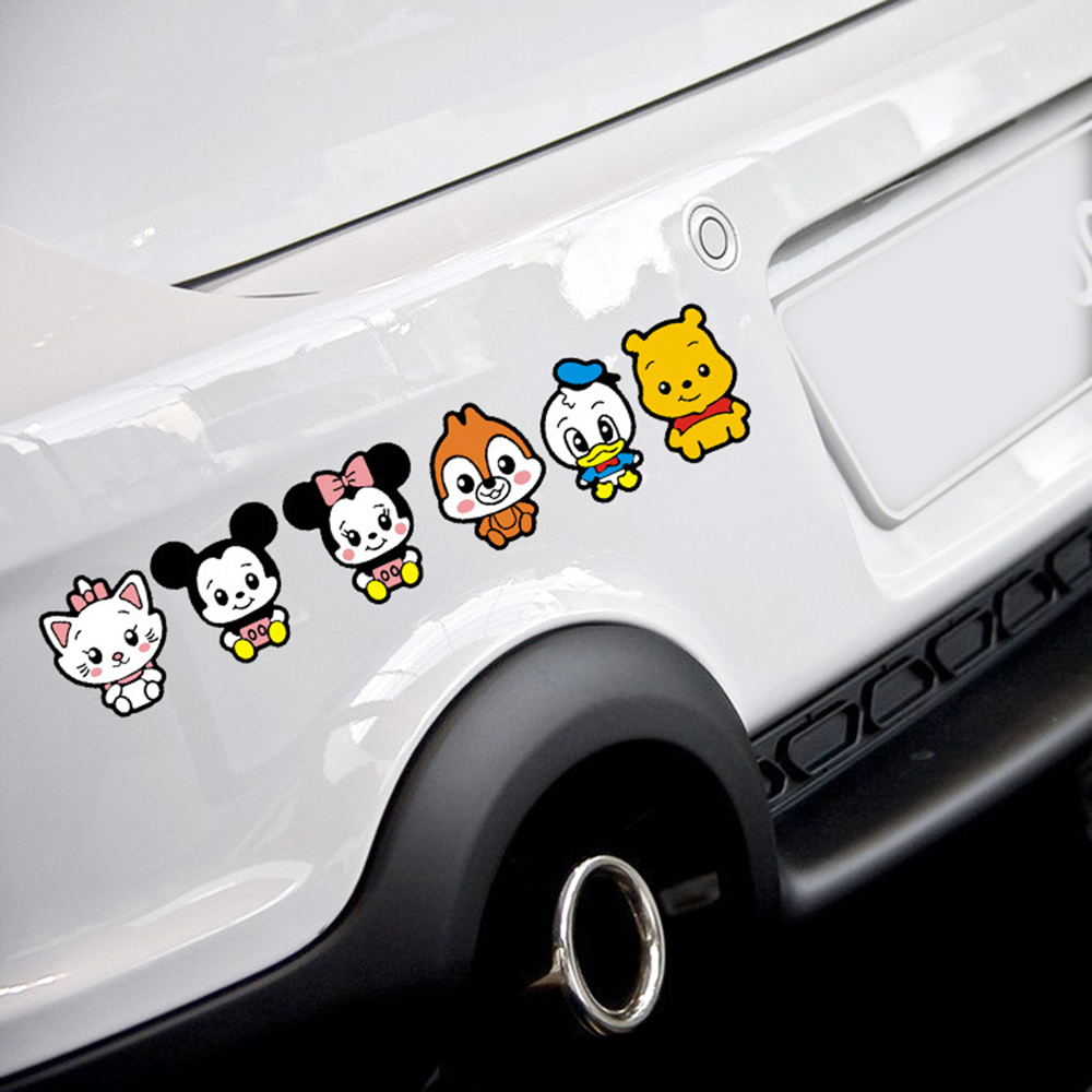 Smart car sticker designs - Car Styling Cute Cartoon Minnie Family Car Sticke Combination Body Decal For Toyota Smart Vw