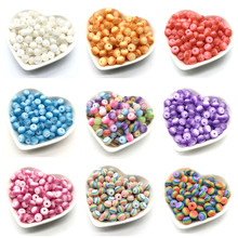 50pcs 8mm Round Color Resin Striped Beads For Jewelry Making DIY Bracelet Necklace Accessories
