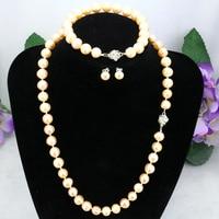 Pink Pearl Necklace Set 8 9mm Flower Button Necklace 18 Bracelet 7 5 Earrings 2 Piece