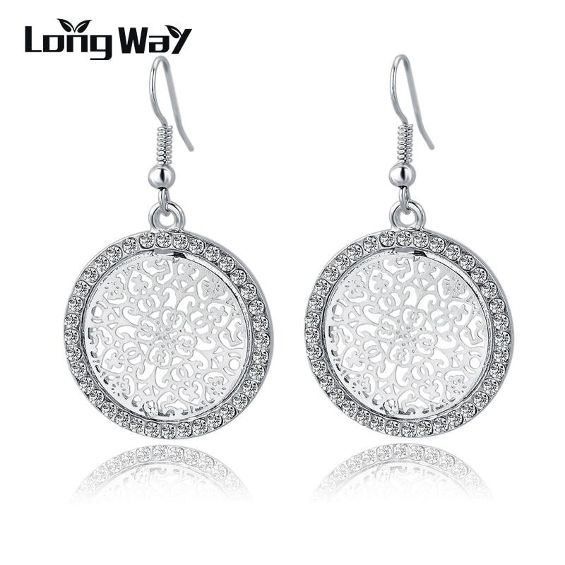 LongWay nieuwe vintage zilveren kleur oorbellen mode grote kristallen oorbellen voor vrouwen bruids bruiloft verklaring sieraden SER150015