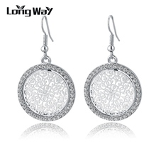 LongWay New Vintage Silver Color Earrings Fashion Big Crystal Drop Earrings For Women Bridal Wedding Statement Jewelry SER150015