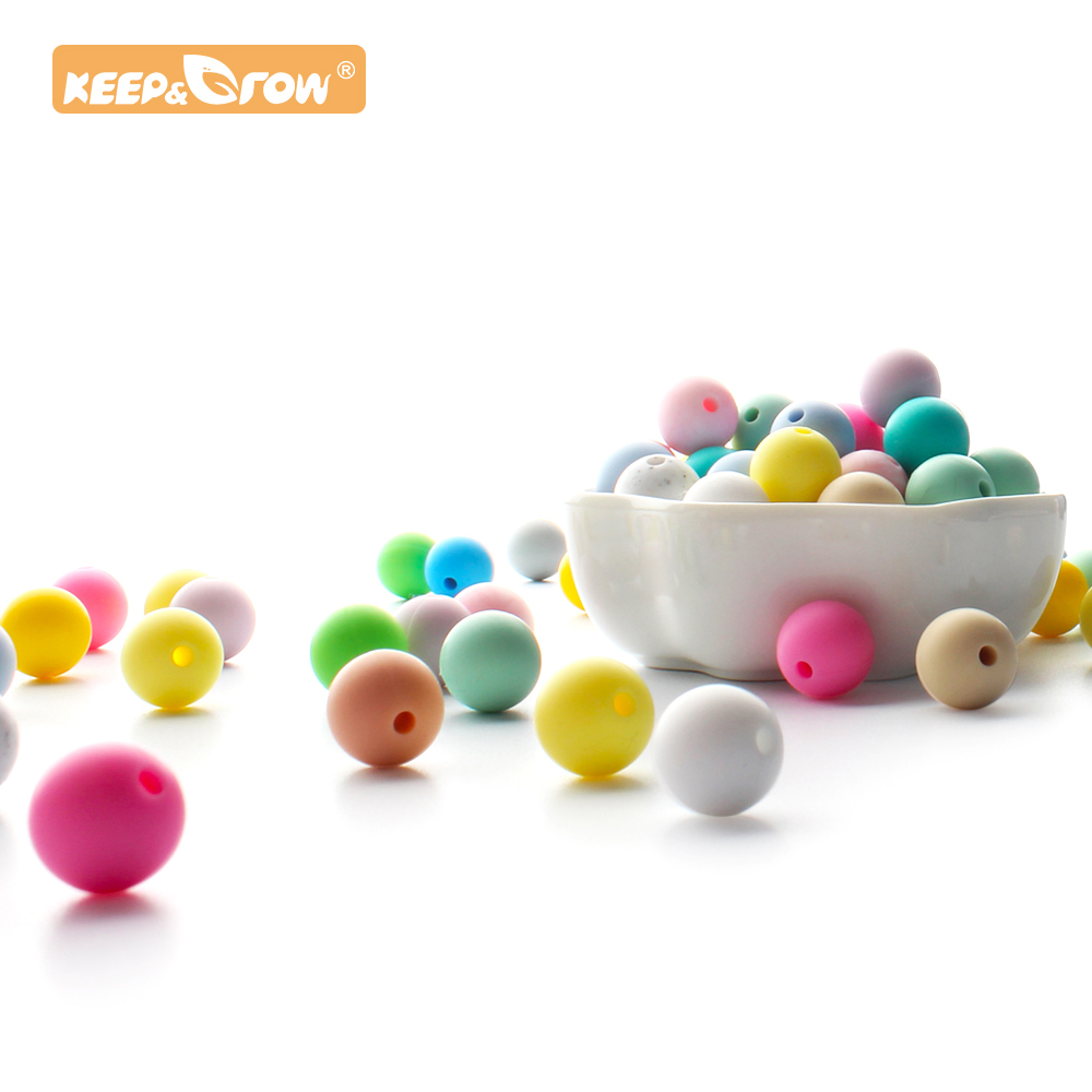 Keep&Grow 10pcs 12mm Silicone Round Beads Food Grade Silicone Baby Teething Beads Chewable Pacifier Chain Clips Baby Teethers