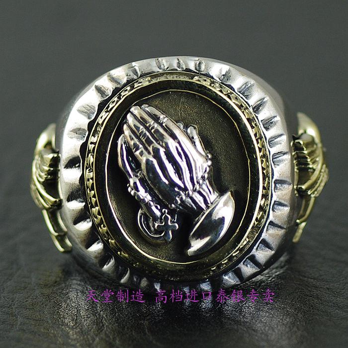Thailand imports, genuine GV new prayer ring thailand imports skull blood new skeleton silver ring