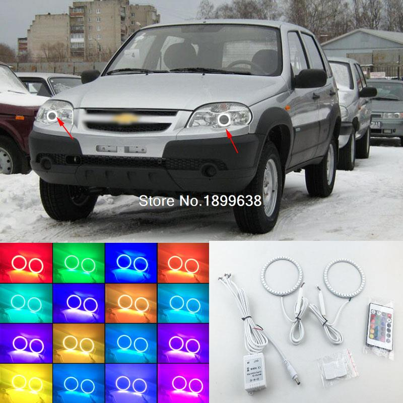 Super bright 7 color RGB LED Angel Eyes Kit with a remote control car styling For Chevrolet chevy Niva 2009 - 2013 2pcs super bright rgb led headlight halo angel demon eyes kit with a remote control car styling for ford mustang 2010 2012